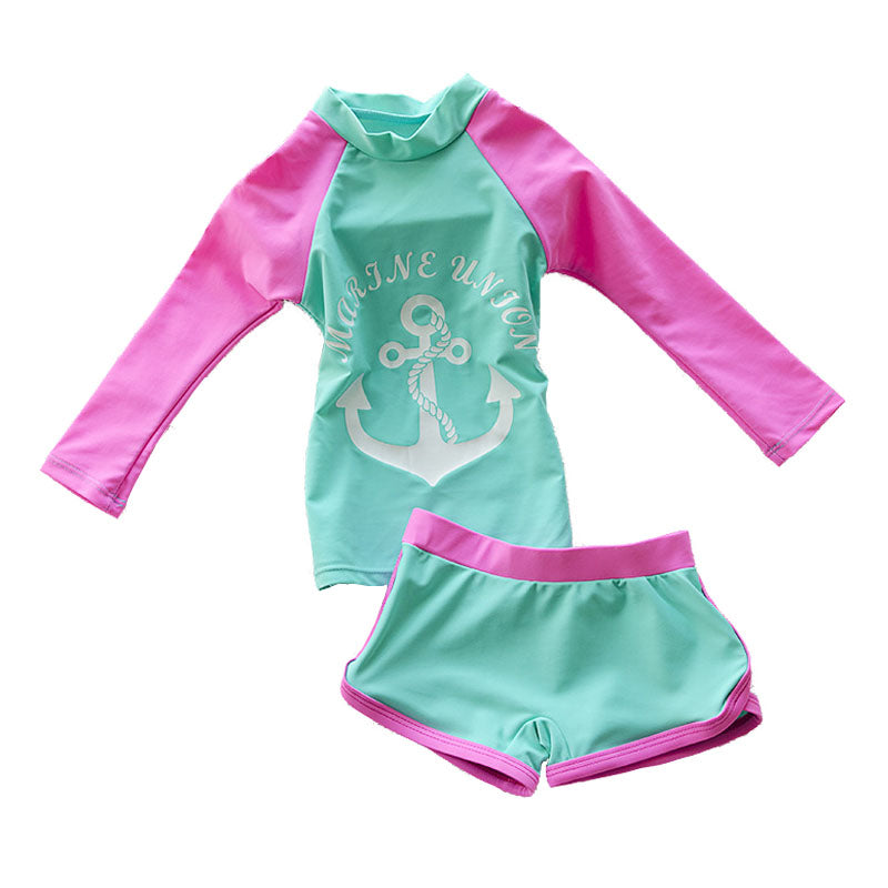 Baby Girls Swimming Suit Long Sleeve Two Piece Kids Toddler Beach Wear