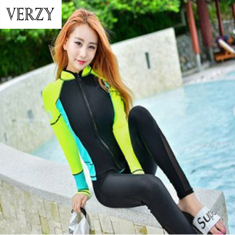 3 Piece Long sleeve Sexy Women Wetsuit Swimwear Women Young ladies