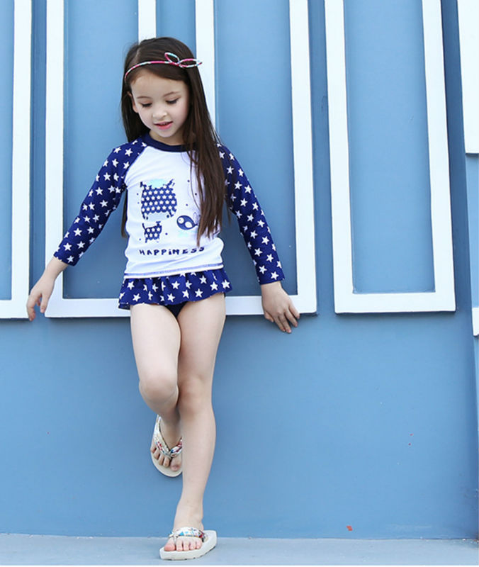 2017 New Arrivals summer Girls Swimwear long sleeved Swimsuit Kids