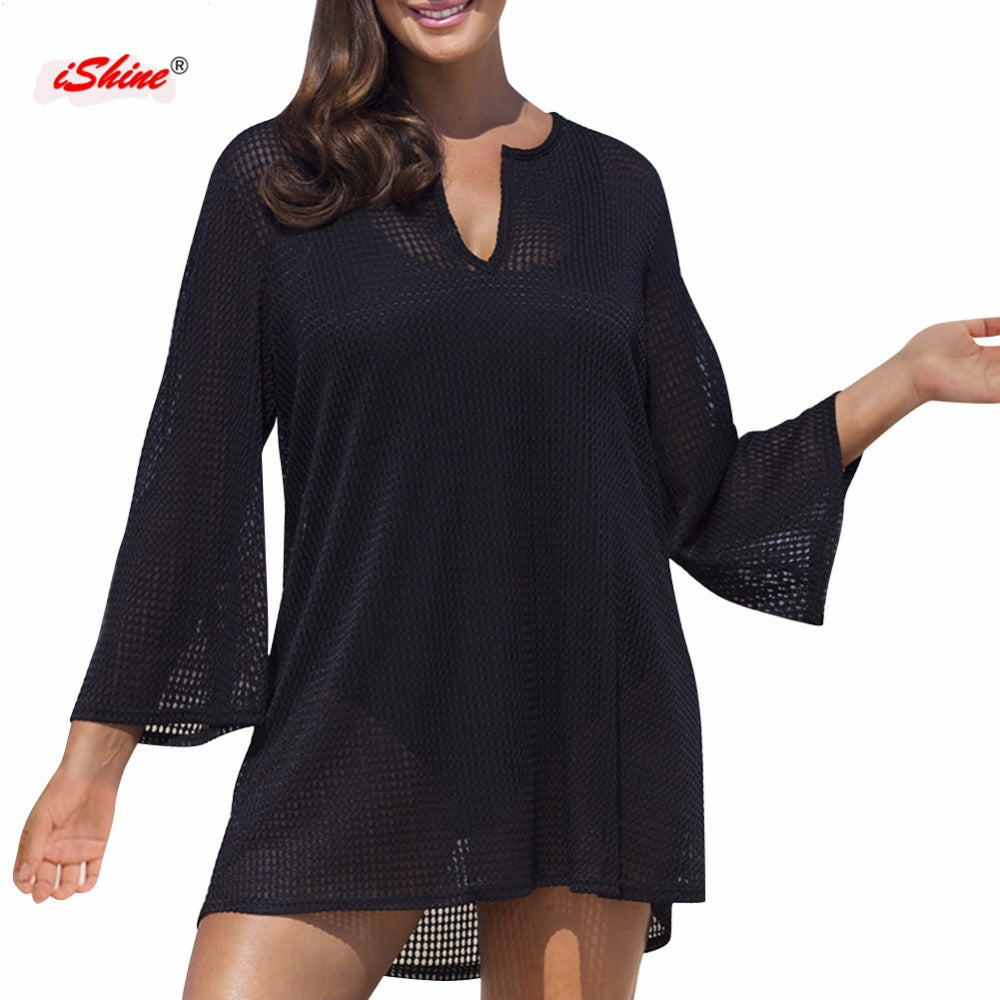Hollow cover up V neck long sleeve beach tunics for bikini bathing