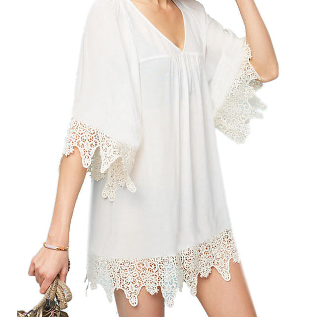 Beach Cover up V-neck White Chiffon Swimwear Lace Dress Beach Tunic