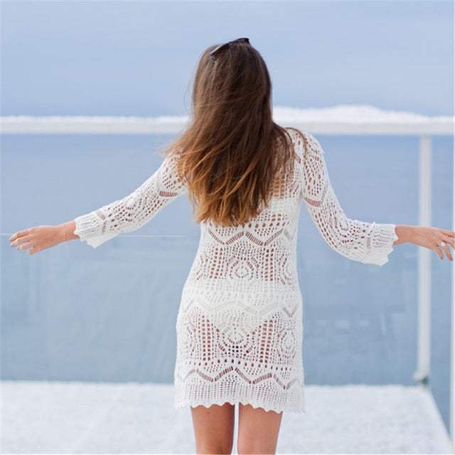 Crochet Bikini cover up Sexy Knitted Beach Cover up Saida de Praia