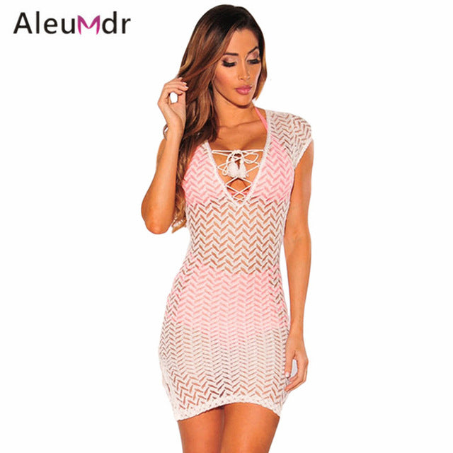Aleumdr 2017 Summer Women Swimsuit Sexy V Neck Lace-up Hollow Bikini
