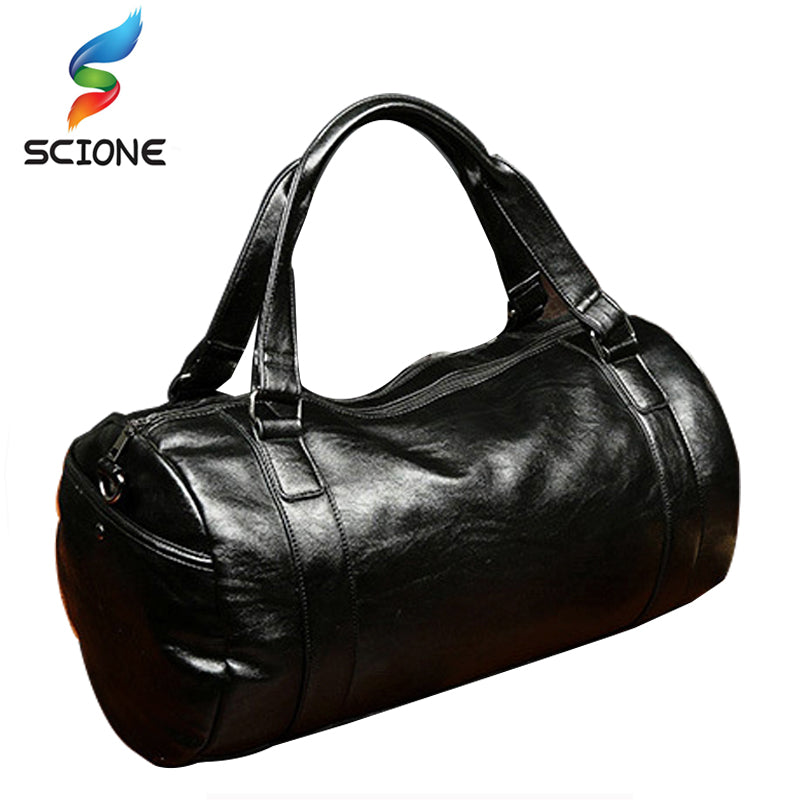 2017 A++Quality Men Classic Soft Leather Fitness Gym Bag Black Brown