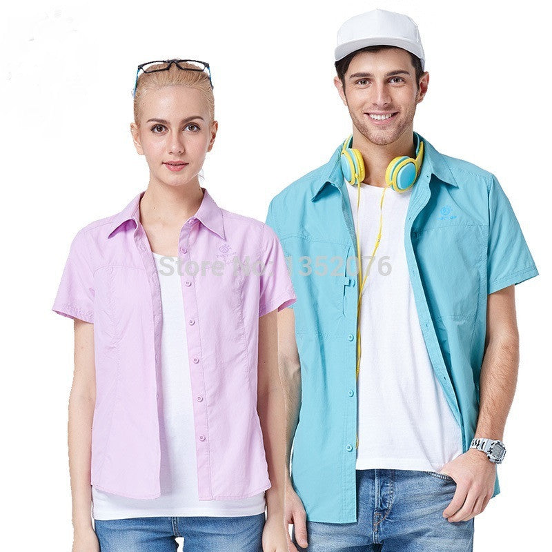 Brand Men Women Quick Dry Short-sleeve Shirts Lovers Fast Dry