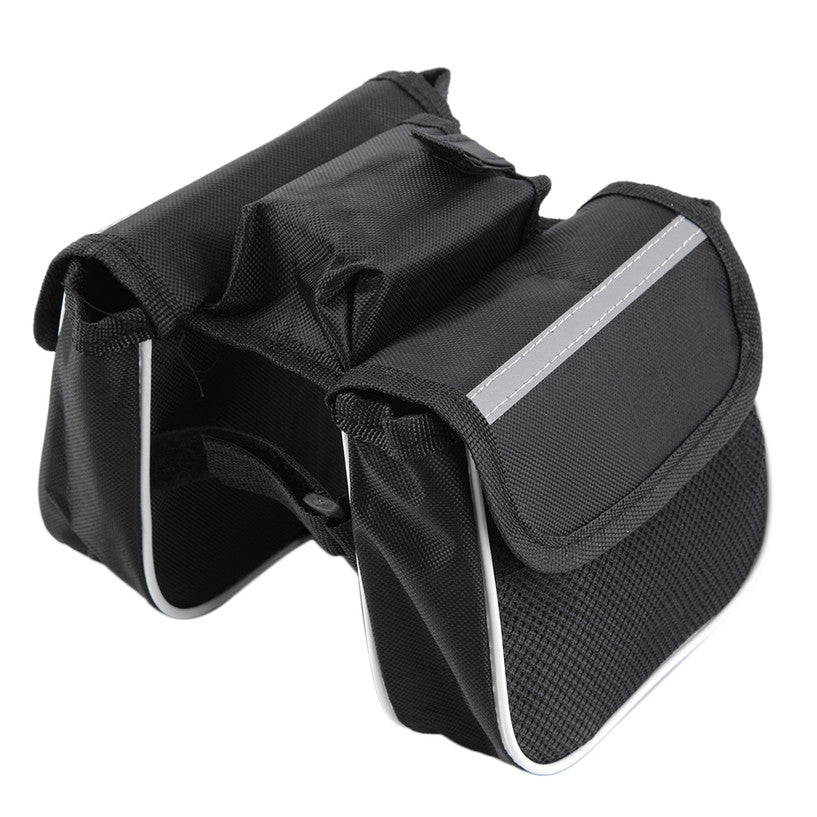 Bicycle Cycling Frame Pannier Saddle Front Tube Bag Both Side Double