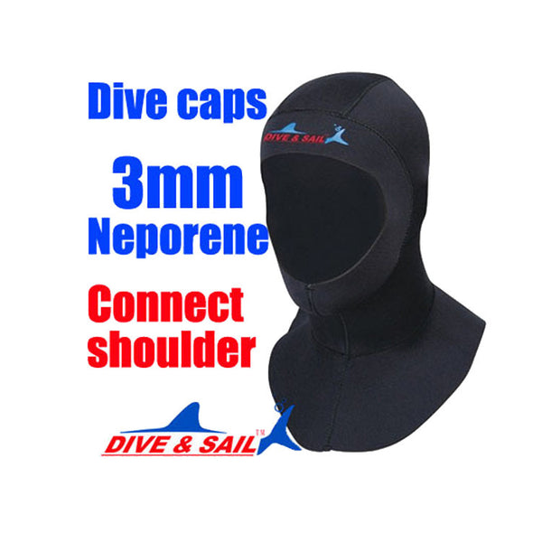 Brand 3mm Neoprene Scuba diving cap Equipment With shoulder Snorkeling Hat hood Neck cover Winter swim Warm Wetsuit Protect hair