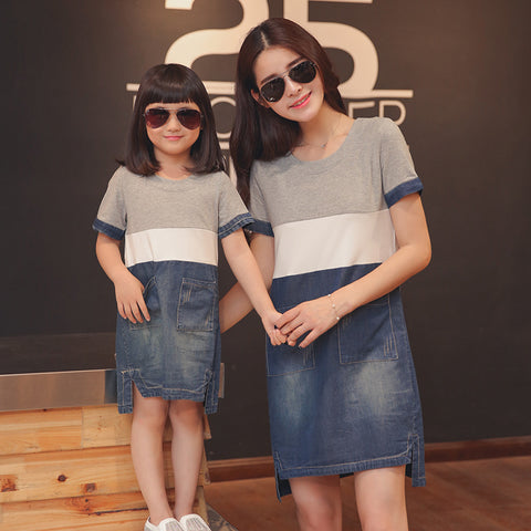 Mother daughter dresses matching mother daughter clothes mom and daughter denim dress family look clothing girl dress
