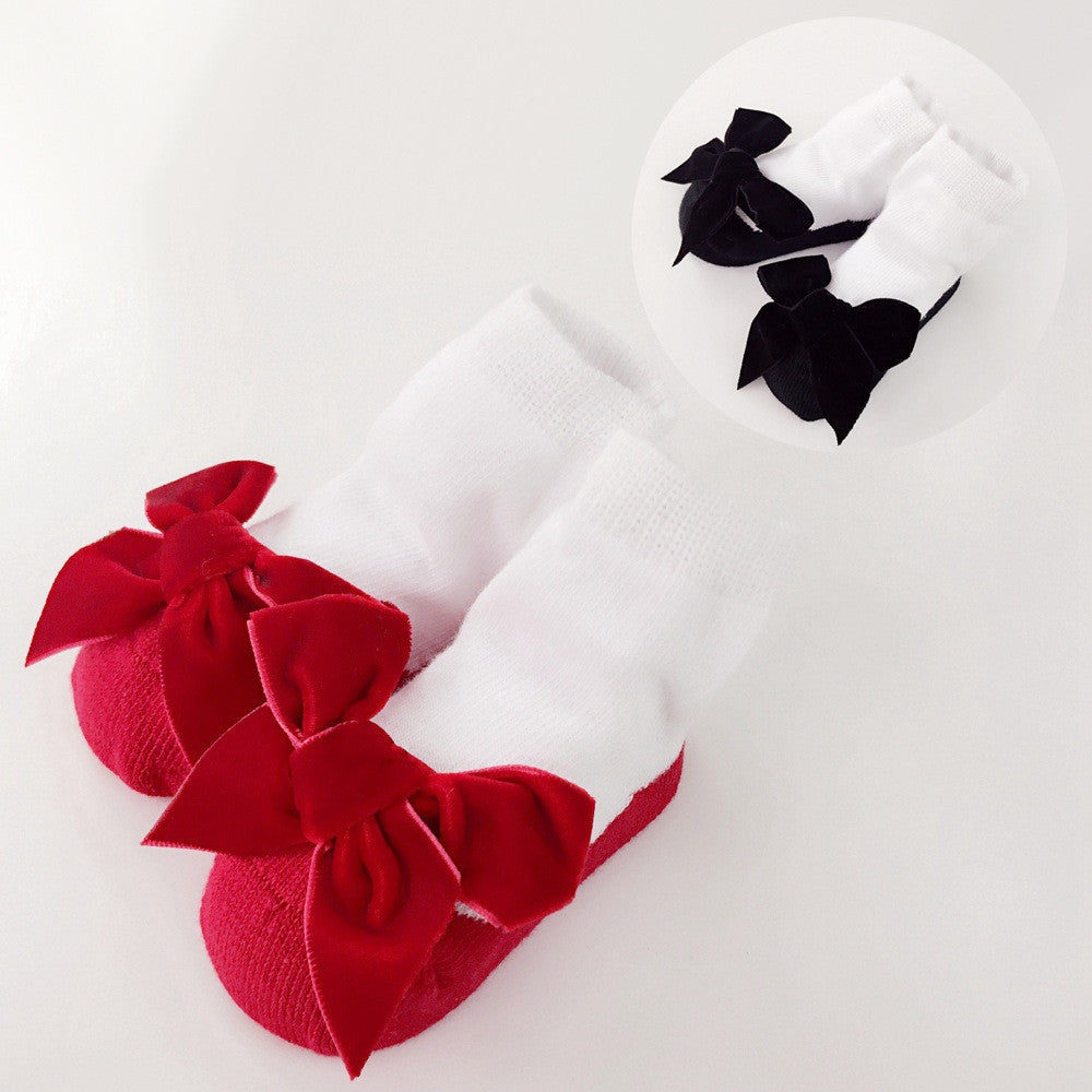 Baby Floor Socks Baby Girl Socks with Bows Princess White Cotton Shoes