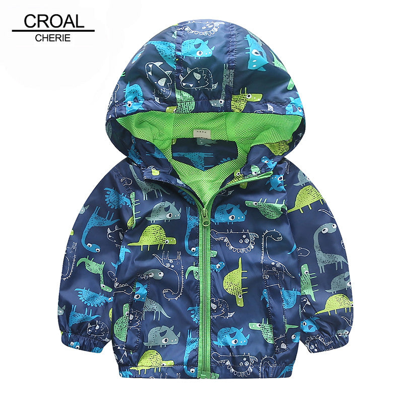 90-120cm Cute Animal Autumn Windbreaker Kids Jacket Boys Cute Dinosaur