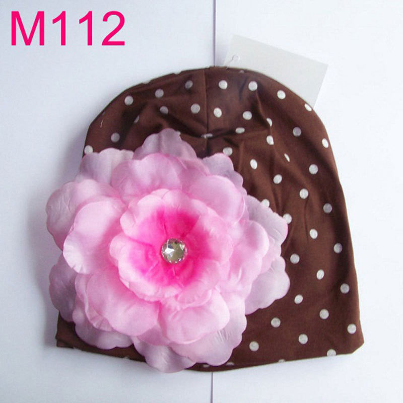 Baby Big flower Beanies Toddler girls hat Infant flower beanie hat