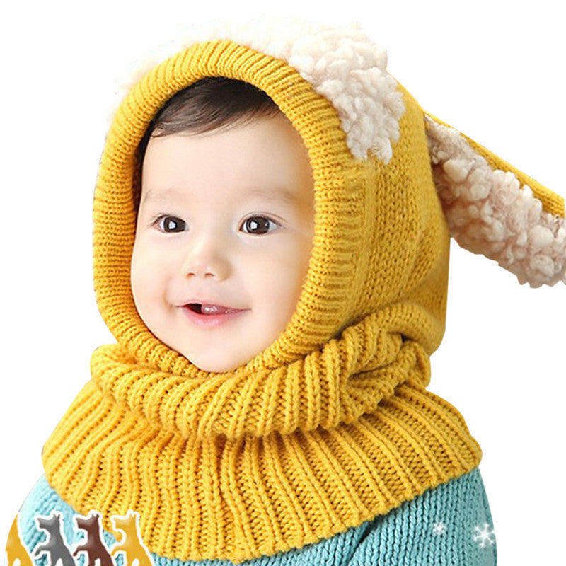 d2aff966ef7 Baby Rabbit Ears Knitted Hat Infant Toddler Winter Cap Beanie Warm ...