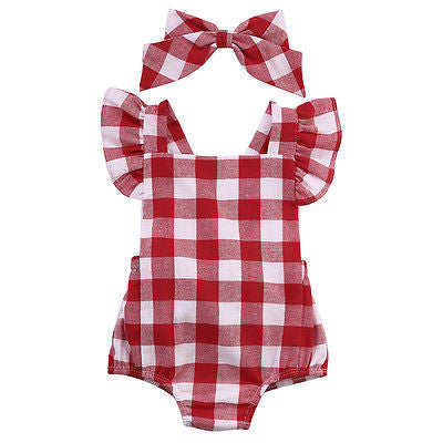 Newborn Infant Kids Baby Girl Red Plaid Romper Jumpsuit  With Headband