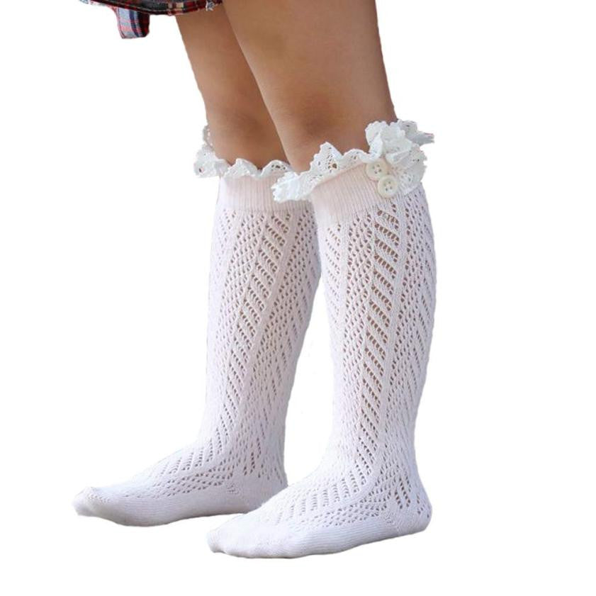 Amazing Baby Kids Girl's Crochet Knitted Button Toppers Lace Leg
