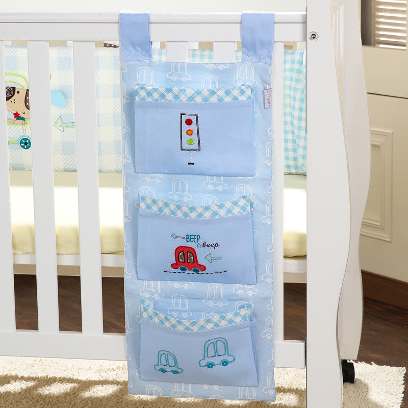 Baby Bed Hanging Storage Bag Cotton Newborn Crib Organizer Toy