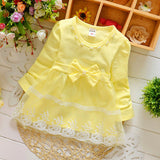 Spring Long Sleeve Lace Bow Baby Party Birthday girls kids Children Cotton dresses princess infant Dress