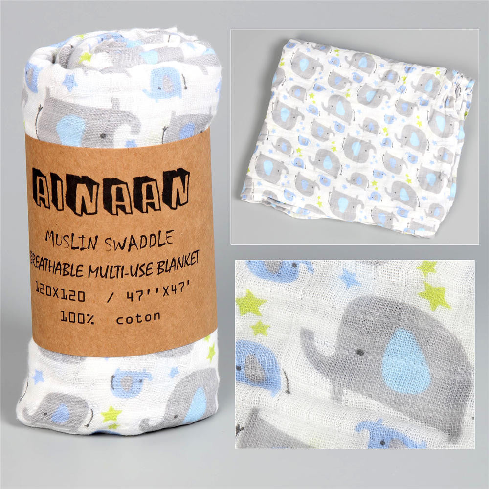 Ainaan Muslin Cotton Baby Swaddles For Newborn Baby Blankets Black &