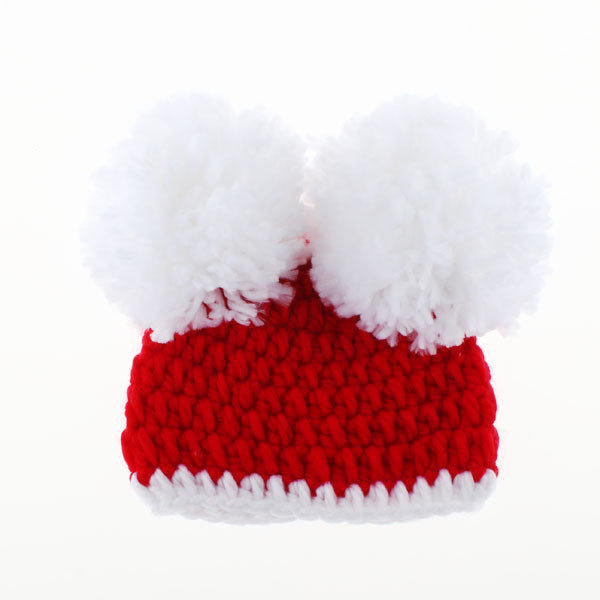 Christmas Baby Santa Hat Toddler Girl Pom-Pom Beanie Hat Crochet