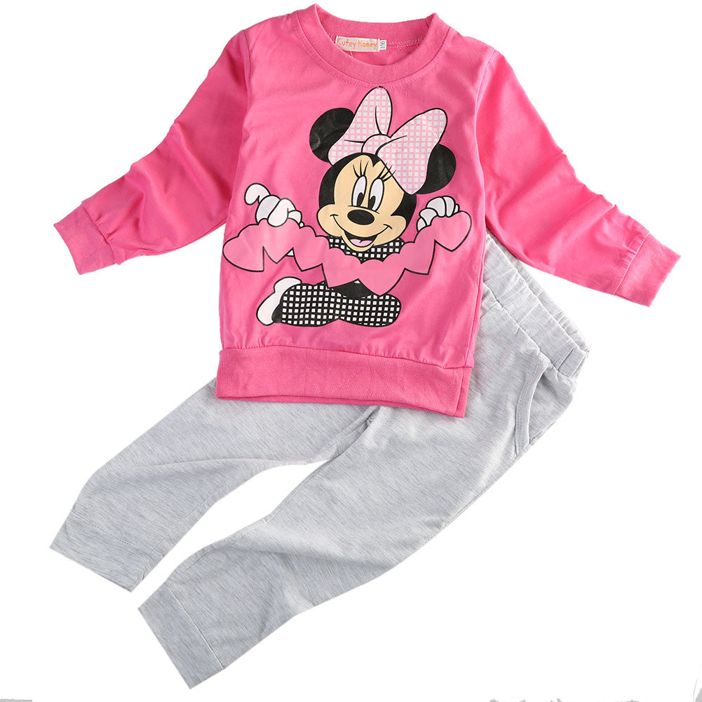 baby girls cartoon set 2016 Spring Autumn children Sport clothing