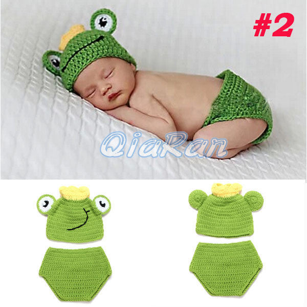 Baby Cute Animal Hat Set Newborn Crochet Knit Clothes Photography