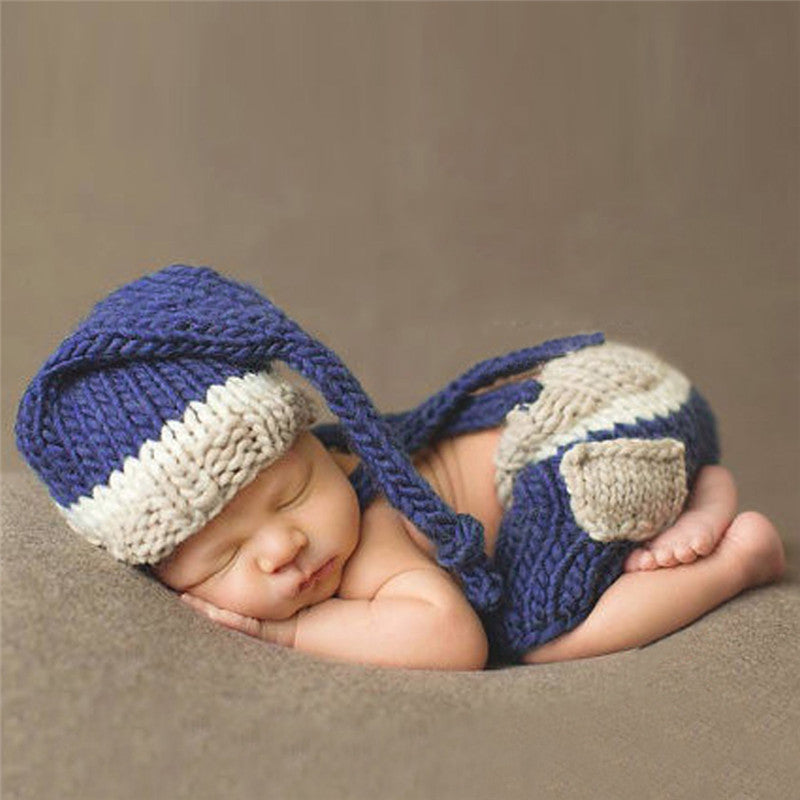 Blue Hat + Trousers Set Handmade Infant Baby Costume Knitted Beanies