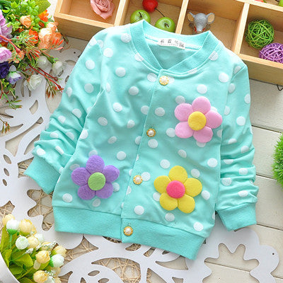 Spring Autumn Baby Coats for Girls Dot Pattern Flower Decoration Baby Clothes Cotton Princess Style Baby Jackets