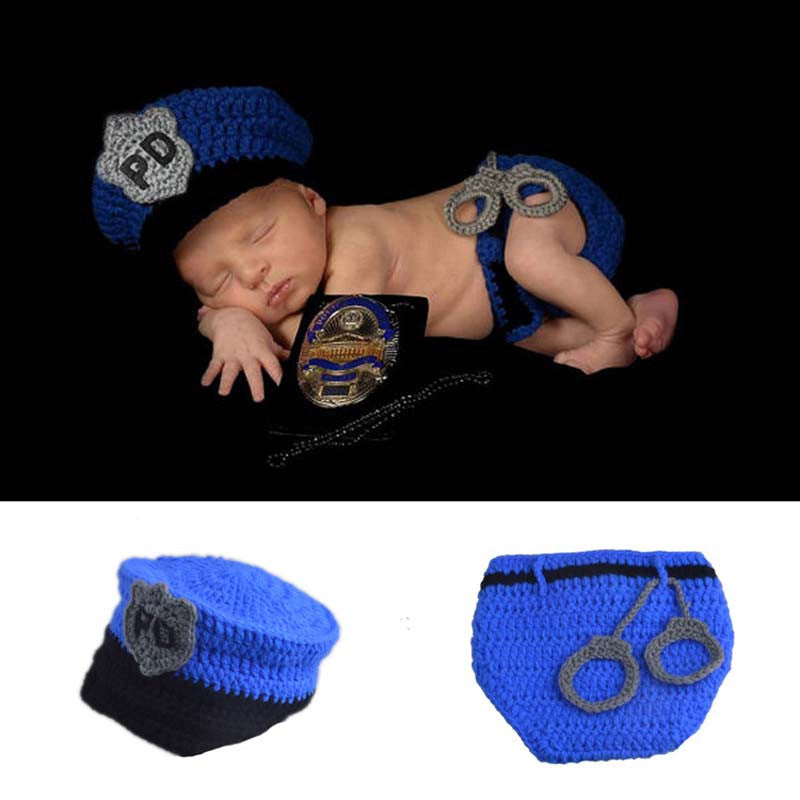 New Hot Sale Newborn Police Design Photography Photo Props Infant