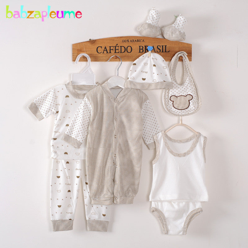 8Piece/0-3Months/Spring Autumn Newborn Baby Tracksuit 100% Cotton Kids