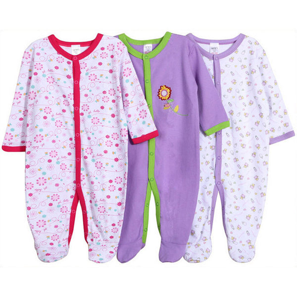 Baby Romper 100% Cotton Infant Newborn 12M Baby Girl Jumpsuits 3pc/lot Long Sleeve Baby Boy Clothing Baby Clothes Set