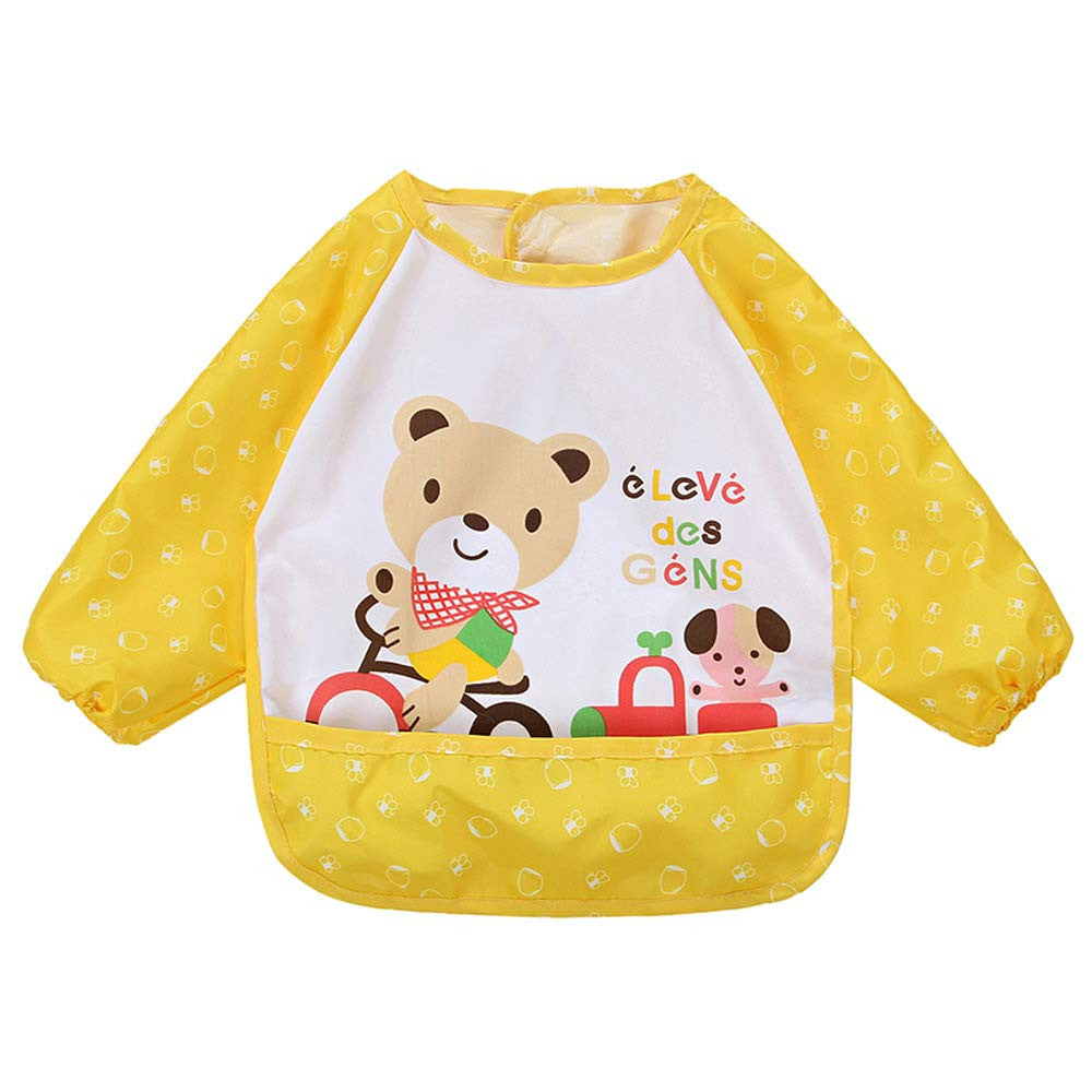 Cute Cartoon Animal Printed Baby Bibs Newborn Long Sleeve Art Apron