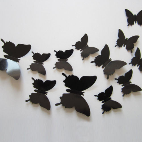 Free shipping 12pcs PVC 3d Butterfly wall decor cute Butterflies ...