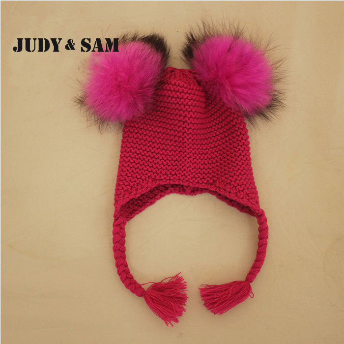 New Baby Hat Autumn Winter Baby Beanie with 2 Real Fur Pompoms Warm ... f54a7008877