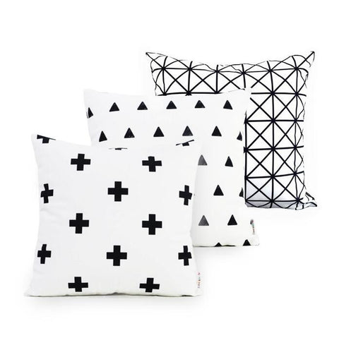 White Geometric Pillow Cases Plus Triangle Cotton Baby Nodic Decorative Cushion Cover No Inner Child Gifts Free Shipping 1pcs