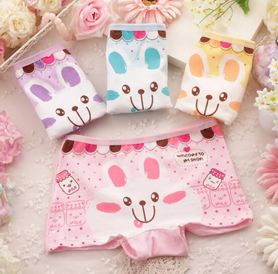 6pcs/lot Children's cotton underwear female cartoon printed baby bunny