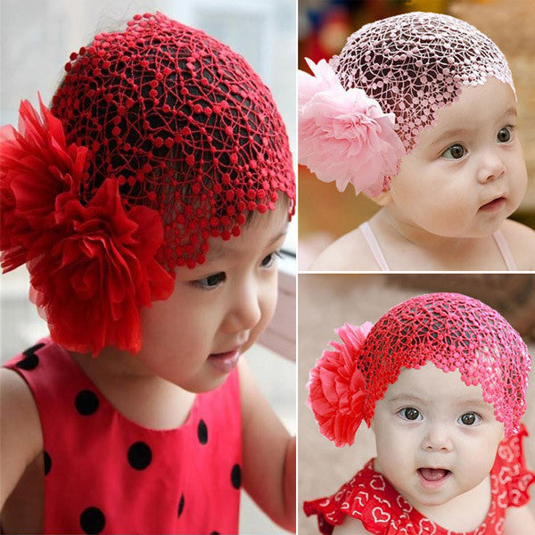 Toddlers Girls Kids Lace Hat Big Flowers Hat Sewing Cap Headband