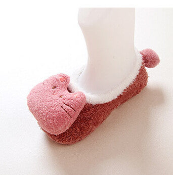 Cartoon feather yarn slip-resistant doll baby socks rubber child