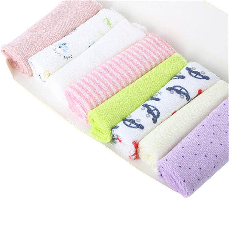 8pcs Baby Kids Soft Bath Washing Handkerchief Towels Multi Colors
