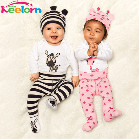 Keelorn Baby boy clothes 2017 New Baby's Sets cotton baby girl clothes 3 pcs(Long-sleeved Romper+hat+pants) kids clothes