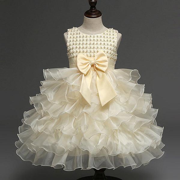 Baby Girl Princess Dresses 1 year Birthday Party and Wedding Tutu Dress with Pearl&Big Bow Toddler Girl Ball Gown Elegant Dress