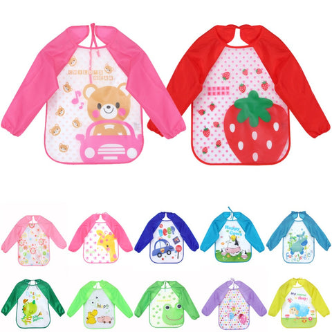 Baby Bibs Infant Burp Cloths Long Sleeve Waterproof Coverall Baby Animals Toddler Scarf Feeding Smock Baby Feeding Accessories
