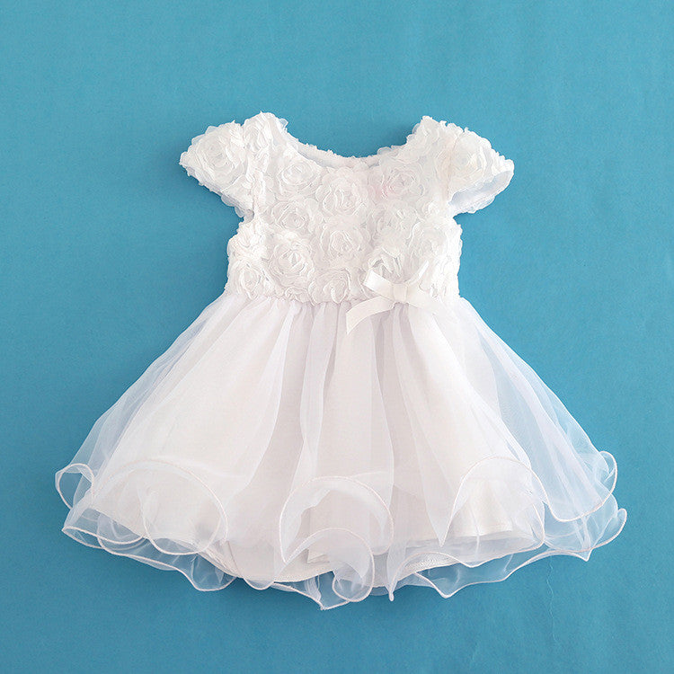 Baby Girl Party Dress White Floral Princess Short Sleeve Dresses
