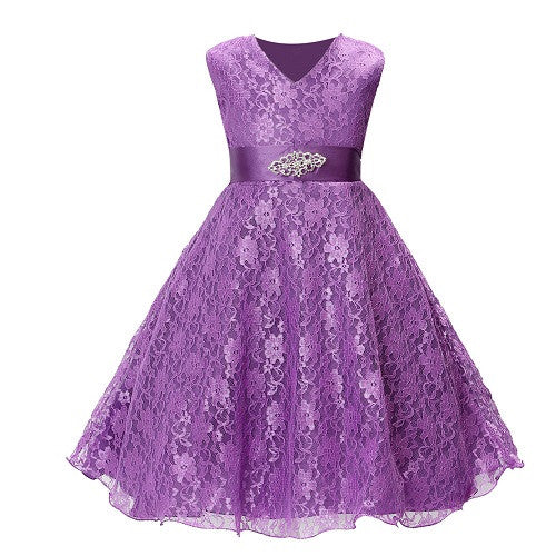 SQ253 Girls party wear clothing for children summer sleeveless lace