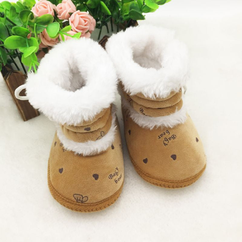Baby Girls Snow Boots Infant Solid Lace Up Shoes Winter Prewalker 0-18