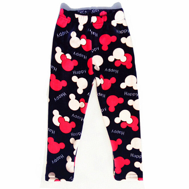 Autumn Winter Girls Leggings Thick Warm Kids Girl Pants Floral