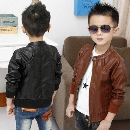 Boys Coats Faux Leather Jackets 2 Colors Children Fashion Outerwear