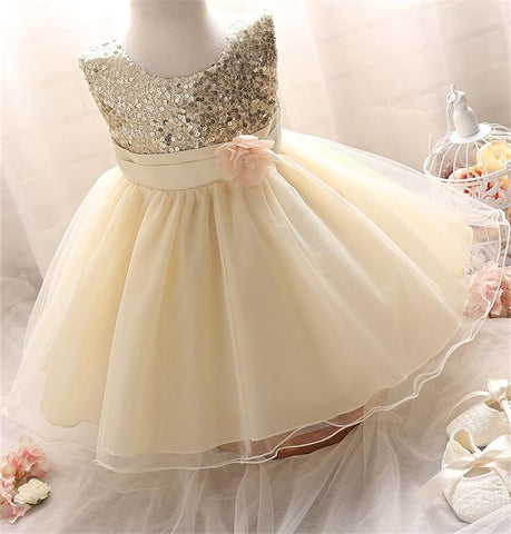 First Communion Newborn Baby Pageant Dress For 1 Year Little Baby Girl Tulle Sequin Christening Gowns Dresses 7 Color