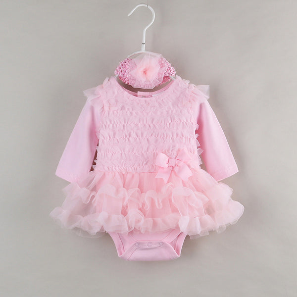 Ruffle Baby Party Dress for Newborn Girl Clothes Long Sleeve Princess Girls Tutu Dress Infant Evening Dresses with Headband