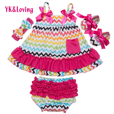 Striped Newborn Ruffles Bloomers Summer Style Briefs Sling Bat Infant With Bow Shoes 4 pieces Girls Baby Clothing Hot Selling