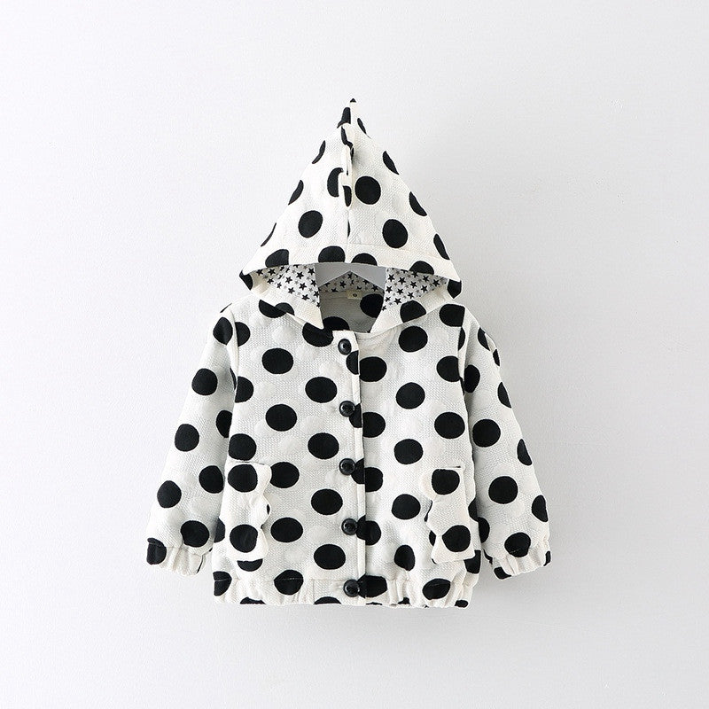 Fashion Autumn Winter Baby Girls Infant Kids Dot Polka Hooded Princess