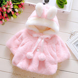 Keelorn 2017 Winter Baby Hooded Girls Coat Rabbit Baby Soft Flannel Cloak Toddler Clothes Girls Cape Outerwear Baby Clothing